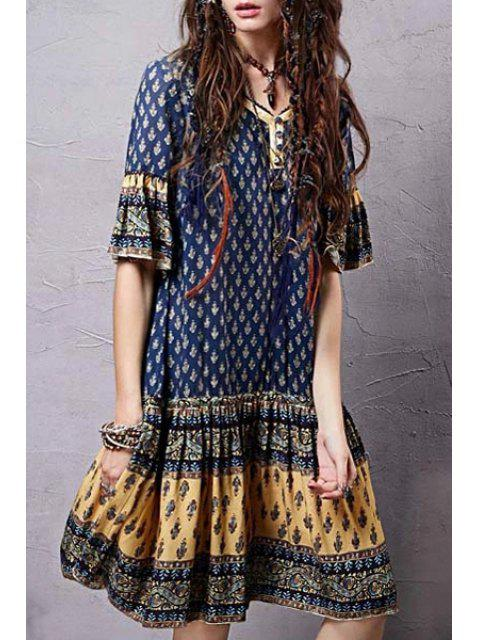 women Ethnic Print V Neck Half Sleeve Dress - COLORMIX M Mobile