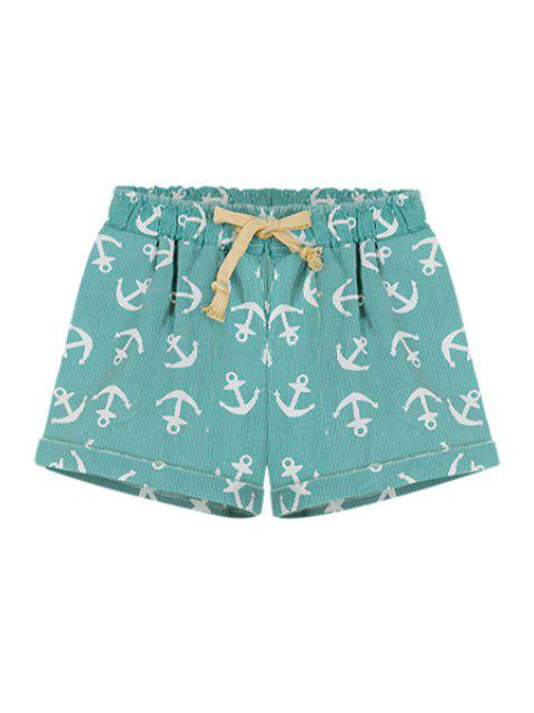 buy Boat Anchor Print Elasitic Waist Shorts - GREEN 2XL Mobile