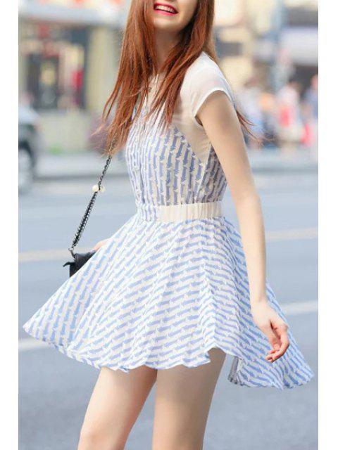 shop Cartoon Cat Print Short Sleeve Dress - LIGHT BLUE S Mobile