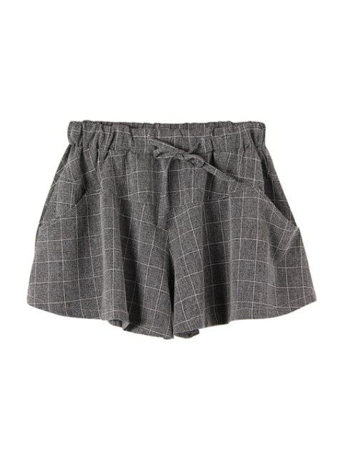 unique Checked Drawstring Wide Leg Pantskirt - CHECKED M Mobile