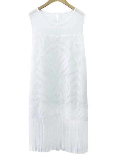 unique Solid Color Tassels Sundress - WHITE XL Mobile