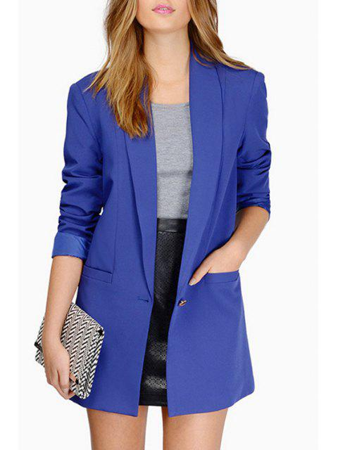 outfits Shawl Collar Candy Color Long Sleeve Blazer - DEEP BLUE S Mobile