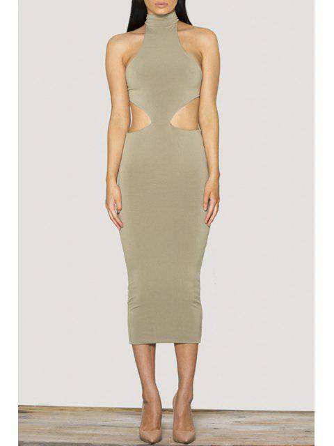 buy Sleeveless Lace-Up Open Back Cut Out Club Dress - GRAY S Mobile