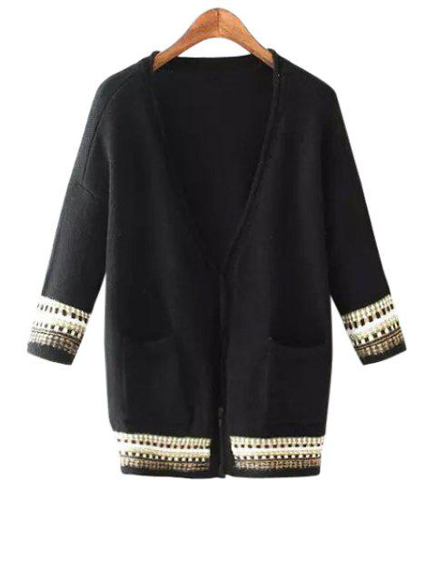 chic Stripe Pocket 3/4 Sleeve Cardigan - BLACK L Mobile