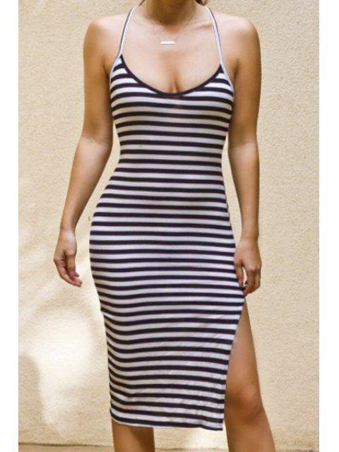 new Spaghetti Strap Stripes Side Slit Bodycon Dress - WHITE AND BLACK L Mobile