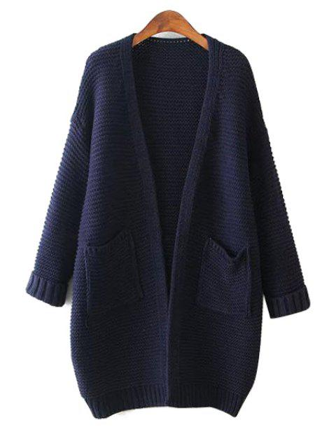 hot Solid Color Pocket Long Sleeve Cardigan - CADETBLUE ONE SIZE(FIT SIZE XS TO M) Mobile