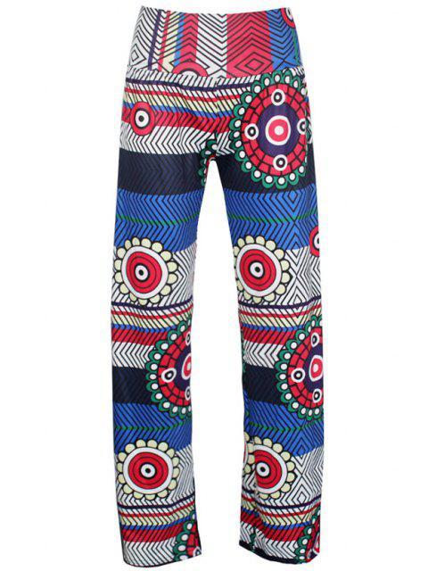Pantalon d'Exumas femme élégant imprimé géométrique à taille élastique - Multicolore M Mobile