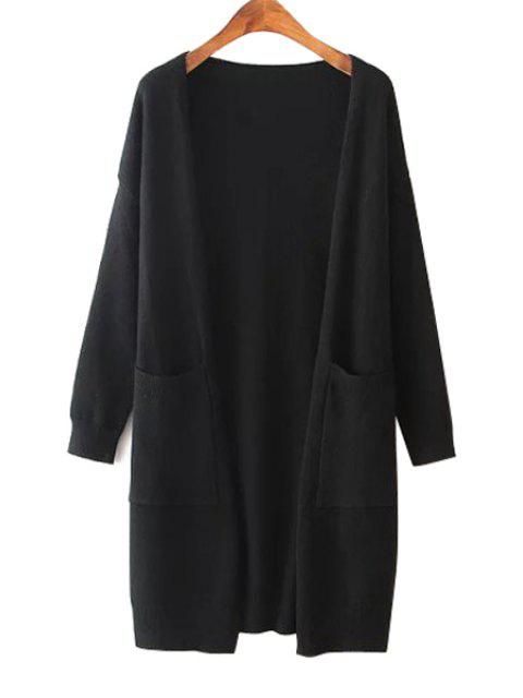 fashion Solid Color Two Pocket Collarless Cardigan - BLACK ONE SIZE(FIT SIZE XS TO M) Mobile