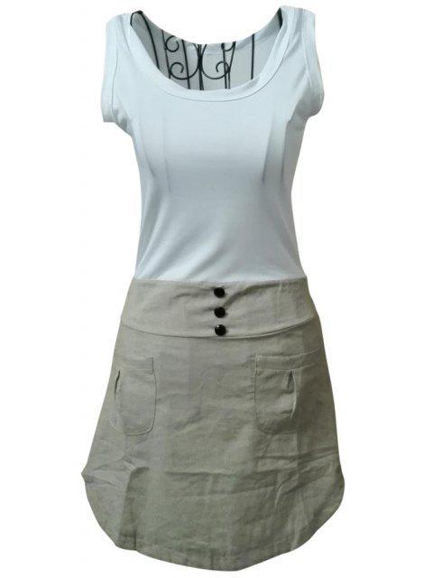 fashion Color Block Scoop Collar Sundress - GRAY L Mobile