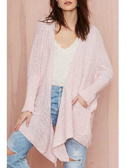fashion Pocket Design Asymmetrical Pink Cardigan - PINK ONE SIZE(FIT SIZE XS TO M) Mobile