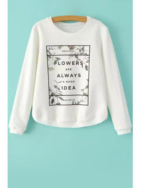 latest Leaves Letter Print Long Sleeve Sweatshirt - WHITE S Mobile