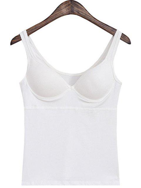 outfits V-Neck Solid Color Padded Tank Top - WHITE ONE SIZE(FIT SIZE XS TO M) Mobile