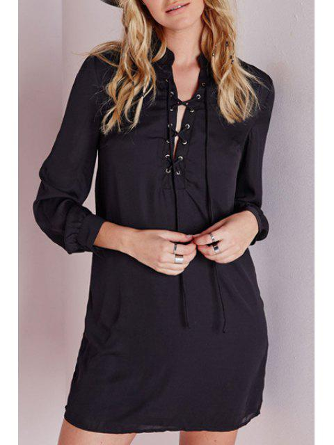 women's Black Stand Neck Long Sleeve Dress - BLACK S Mobile