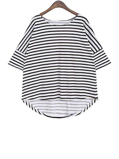 women Stripe Asymmetrical Short Sleeve T-Shirt -   Mobile