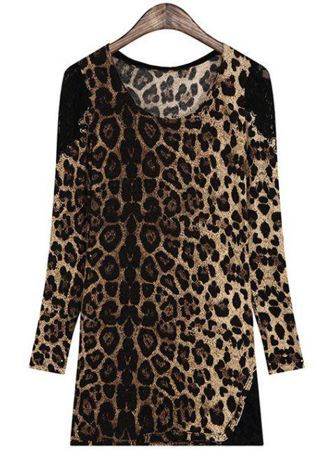 best Leopard Pattern Lace Splicing Long Sleeve T-Shirt - COFFEE ONE SIZE(FIT SIZE XS TO M) Mobile