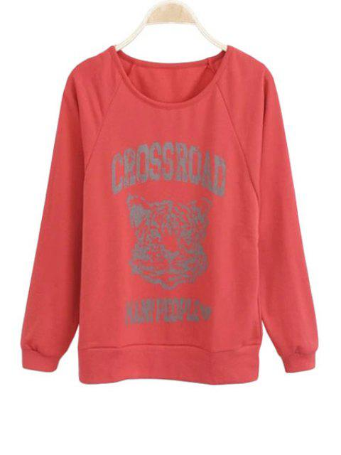 shops Letter Tiger Print Long Sleeve Sweatshirt - DARK RED ONE SIZE(FIT SIZE XS TO M) Mobile