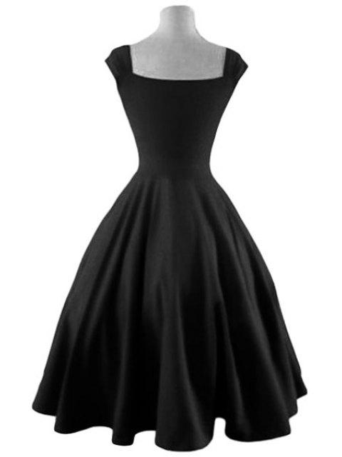women's Reversible Solid Color Ball Gown Dress - BLACK L Mobile