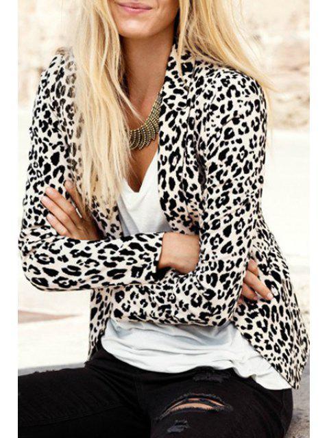 Leopard Print Lapel Blazer à manches longues - Léopard L Mobile
