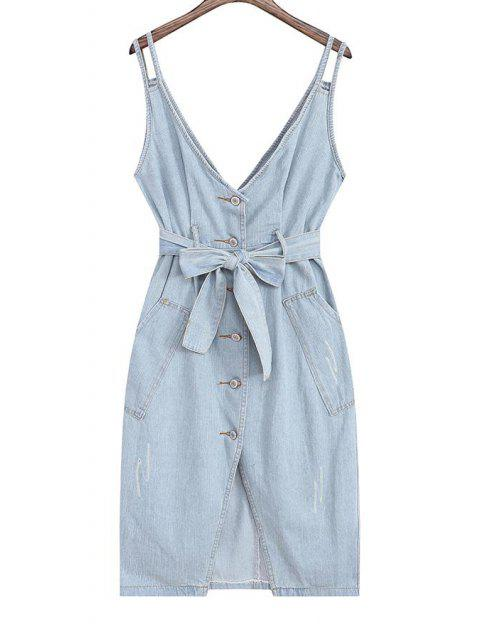 online Denim Pinafore Midi Dress With Belt - LIGHT BLUE ONE SIZE(FIT SIZE XS TO M) Mobile