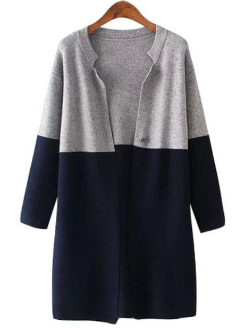 hot Stand-Up Collar Color Block Long Sleeve Cardigan - CADETBLUE ONE SIZE(FIT SIZE XS TO M) Mobile
