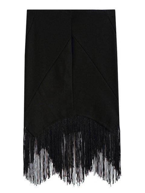 buy Black Tassels Spliced Asymmetrical Bodycon Skirt - BLACK ONE SIZE(FIT SIZE XS TO M) Mobile