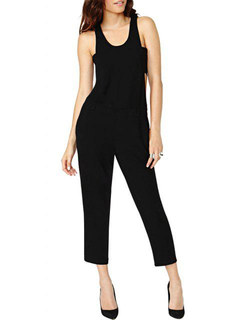 outfit Black Cut Out Sleeveless Jumpsuit - BLACK S Mobile