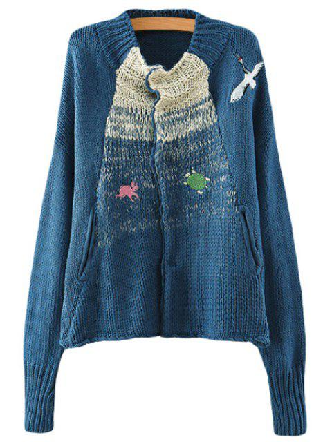 hot Animal Embroidery Long Sleeve Cardigan - BLUE ONE SIZE(FIT SIZE XS TO M) Mobile