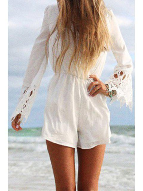 outfits Long Sleeve Lace Spliced White Playsuit - WHITE S Mobile