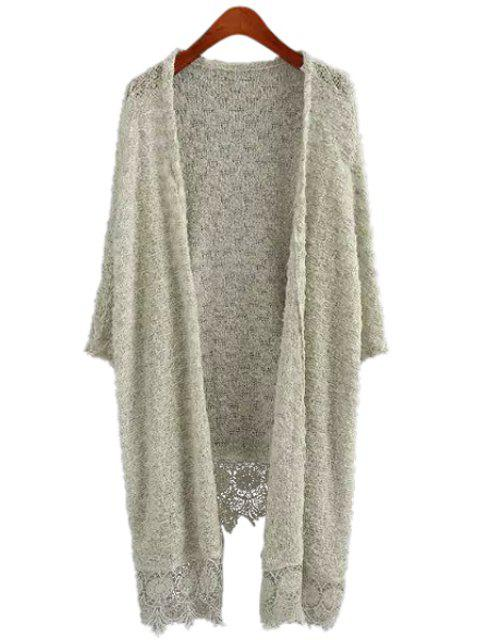 new Lace Splicing Solid Color Long Sleeve Cardigan - OFF-WHITE L Mobile