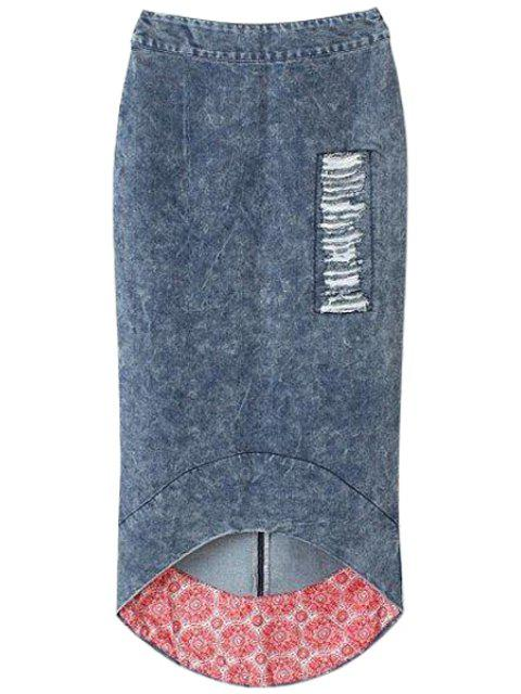 ladies Bleach Wash Fray High Low Skirt - DEEP BLUE S Mobile