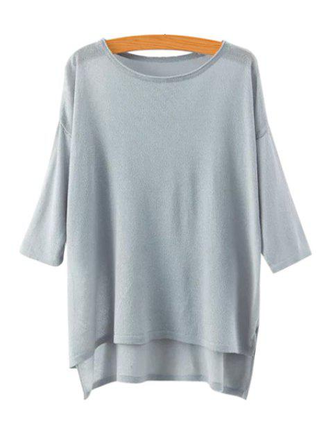hot High Low See-Through 3/4 Sleeve Sweater - GRAY ONE SIZE(FIT SIZE XS TO M) Mobile