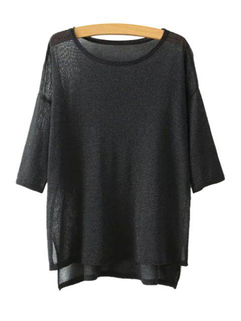 outfit High Low See-Through 3/4 Sleeve Sweater - BLACK ONE SIZE(FIT SIZE XS TO M) Mobile