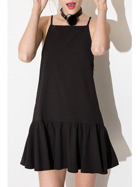 lady Black Spaghetti Strap Ruffles Dress - BLACK XL Mobile