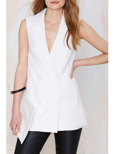 hot Lapel Double-Breasted Sleeveless Waistcoat - WHITE S Mobile