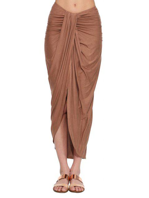 sale Draped High Slit Long Skirt - BROWN XL Mobile