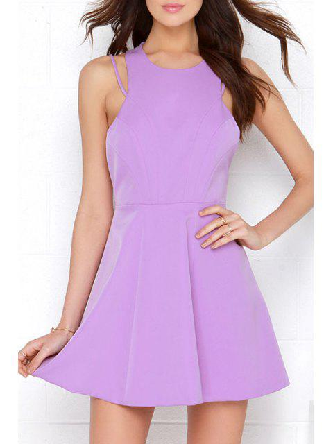 affordable Solid Color A Line Sleeveless Backless Dress - LIGHT PURPLE XL Mobile