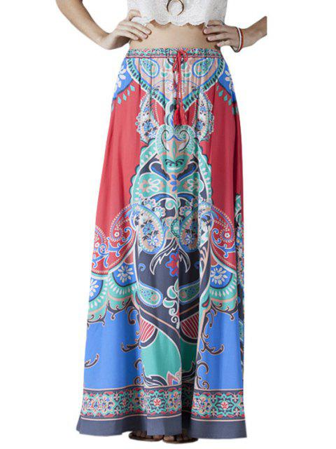 outfit High-Waisted Printed Drawstring Long Skirt - COLORMIX L Mobile