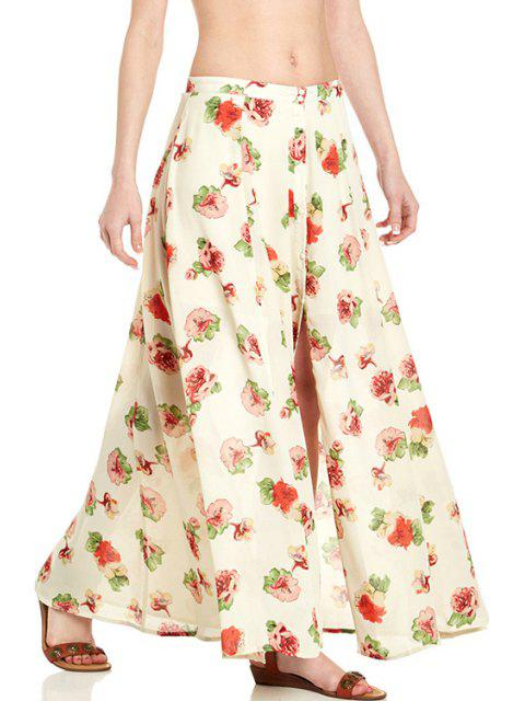 trendy Floral Print Button Fly Long Skirt - OFF-WHITE L Mobile