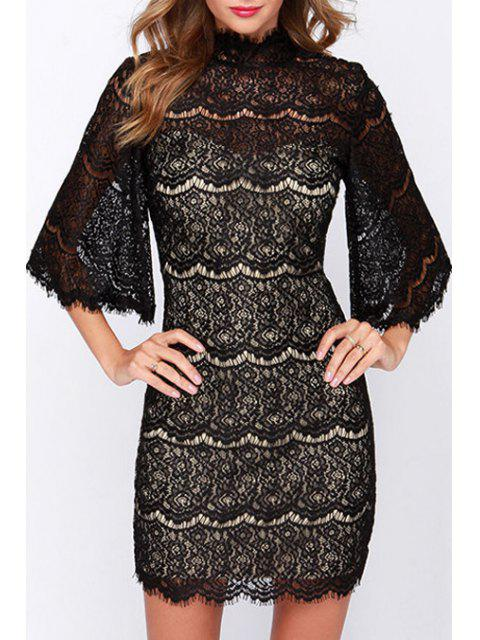 trendy See-Through Lace Half Sleeve Dress - BLACK 2XL Mobile