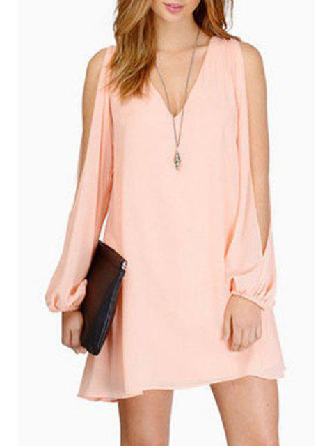 best Solid Color Cut Out Layered Chiffon Dress - PINK XL Mobile
