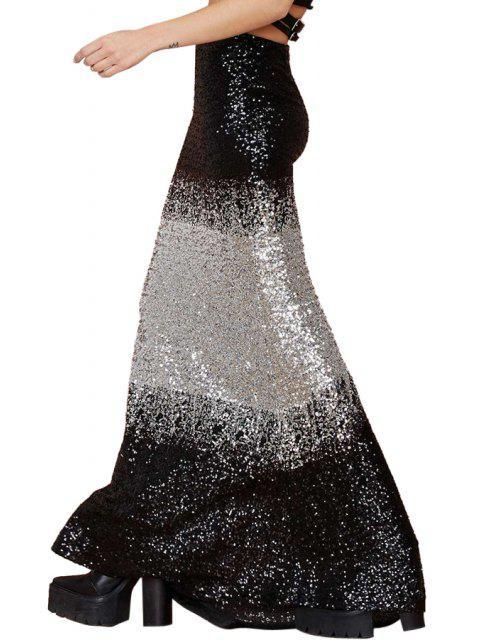 chic Black White Splicing Sequins Long Skirt -   Mobile