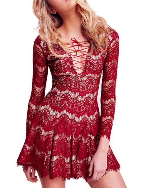 affordable Lace Plunging Neck Long Sleeve Flare Dress - RED L Mobile