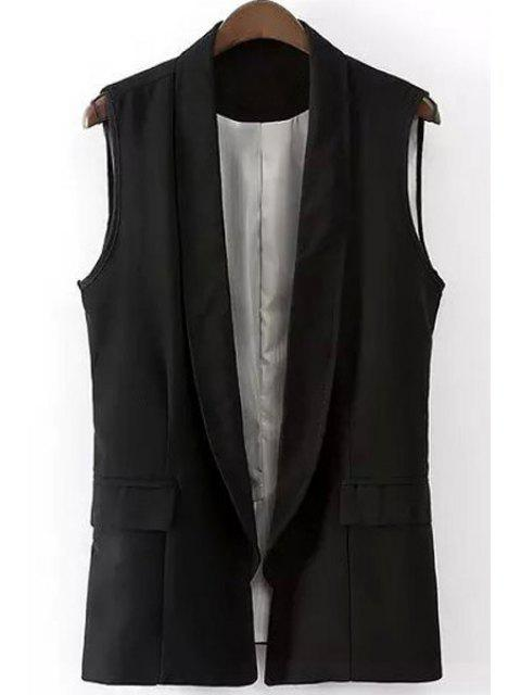 womens Shawl Collar Solid Color Waistcoat - BLACK S Mobile