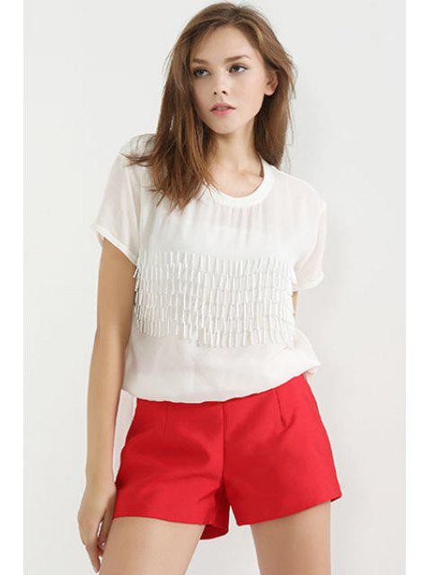 fancy Solid Color Back Zipper Shorts - RED S Mobile