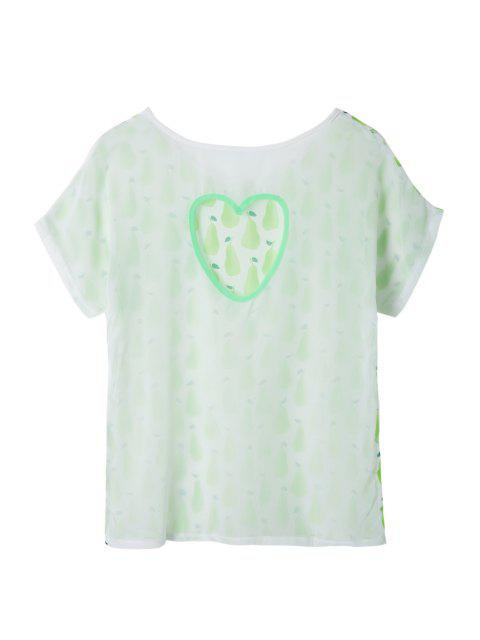 ladies Pear Print Short Sleeve T-Shirt - WHITE AND GREEN S Mobile