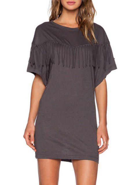 latest Bat-Wing Sleeve Tassels Spliced Gray Mini Dress - DEEP GRAY M Mobile
