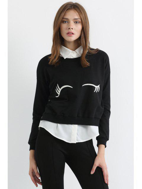 best White Eyelash Print Long Sleeve Sweatshirt - BLACK M Mobile