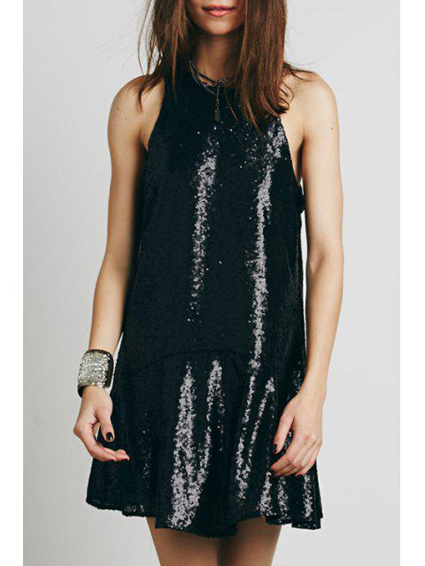 trendy Sequined Open Back A-Line Club Dress - BLACK M Mobile