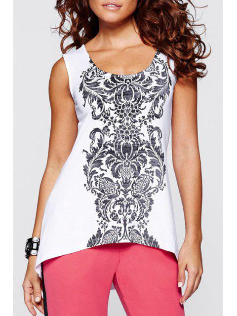 Totem Print High-Low Hem Tank Top - Blanc XL Mobile