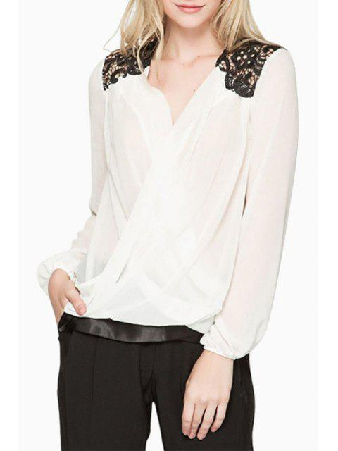 new Lace Splicing Chiffon Long Sleeve Blouse - WHITE M Mobile